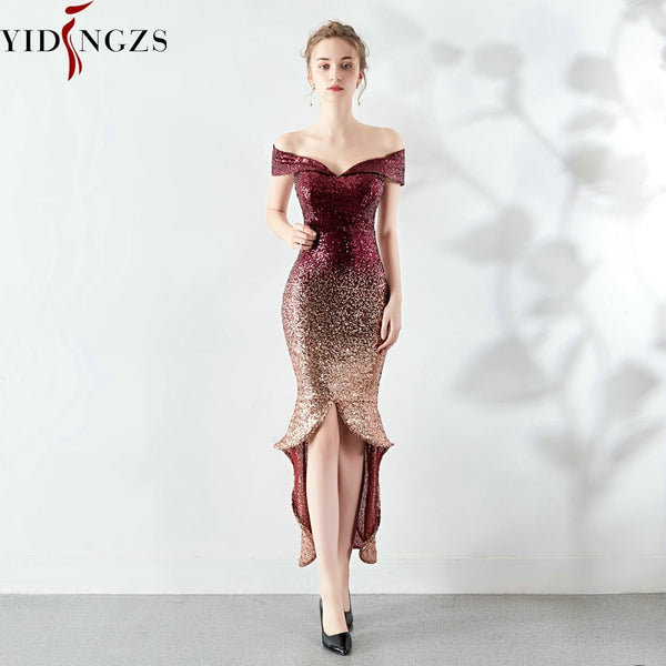 Yidingzs New Arrive Women Elegant Sequin Evening Dress