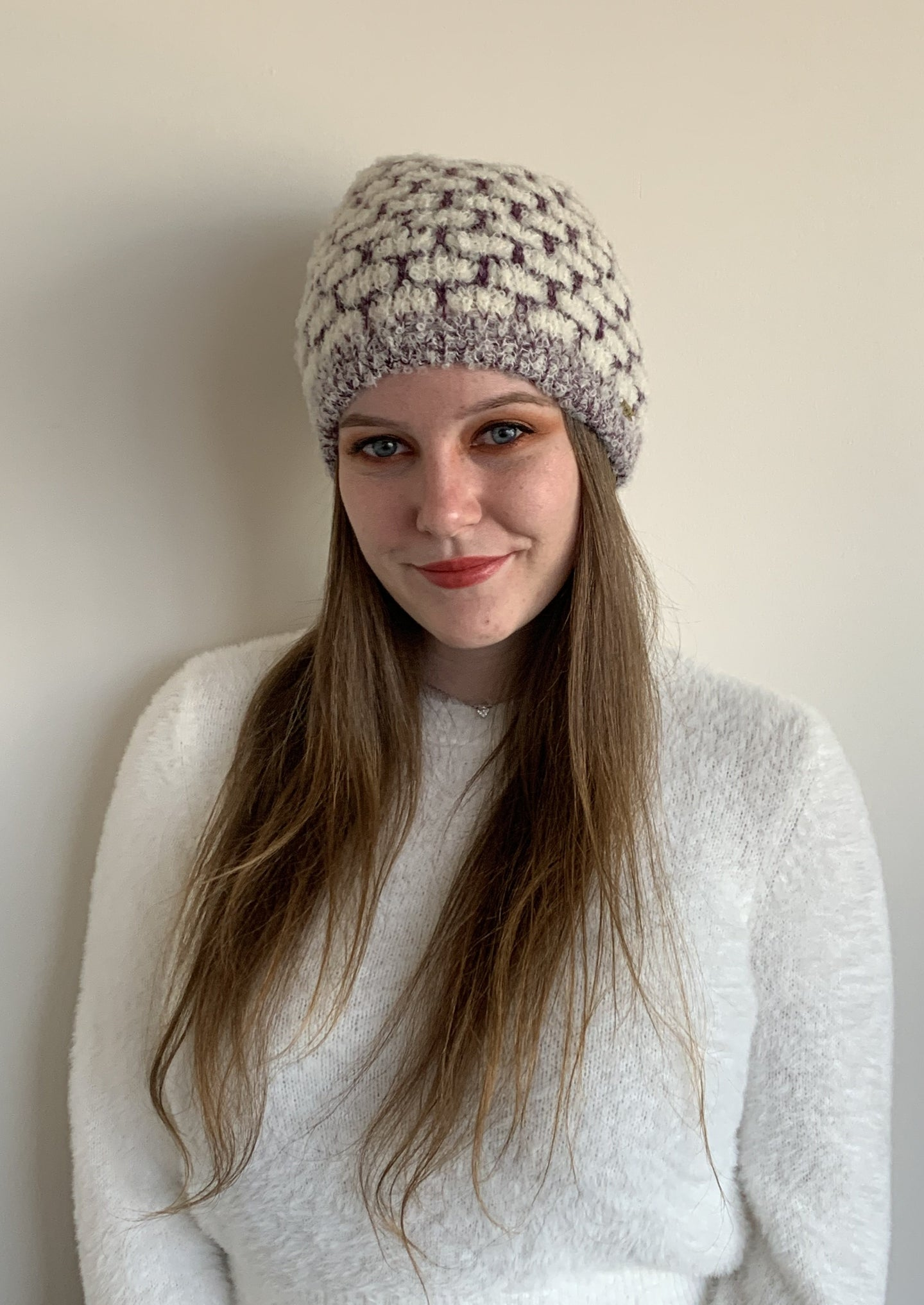 Women Cloud White-Purple Baby Alpaca Hat