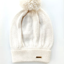 Load image into Gallery viewer, Women White Baby Alpaca Hat with Yarn Pom Pom