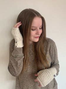 Women Beige Rice Fingerless Gloves