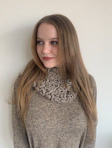 Women Brown Wormy Baby Alpaca Scarf