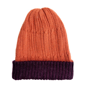 Men Purple-Orange Baby Alpaca Reversible Hat
