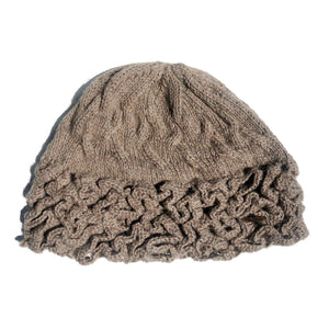Women Brown Wormy Baby Alpaca Hat
