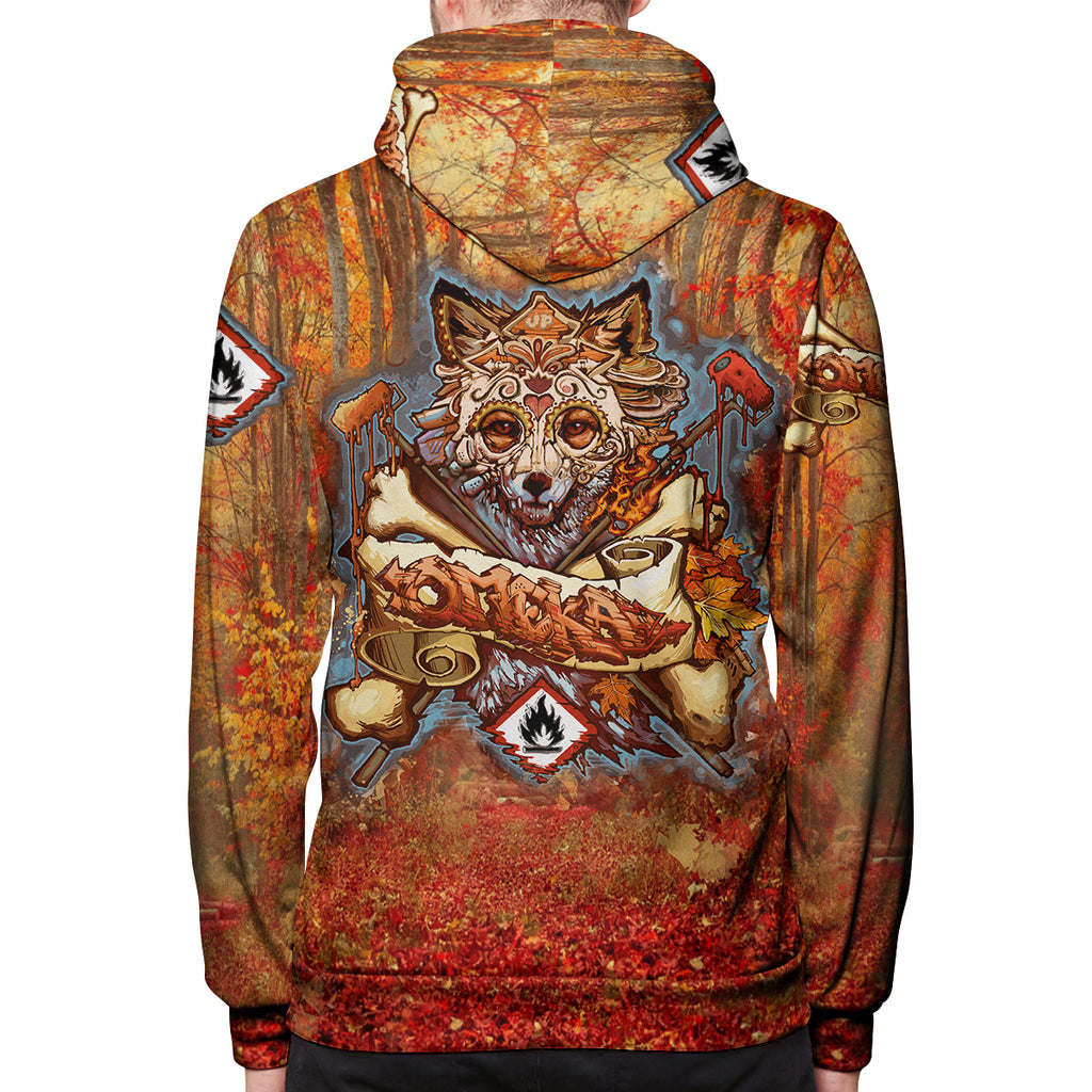 Fall Fox All Over Print Zip Hoodie