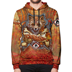 Fall Fox All Over Print Pullover Hoodie