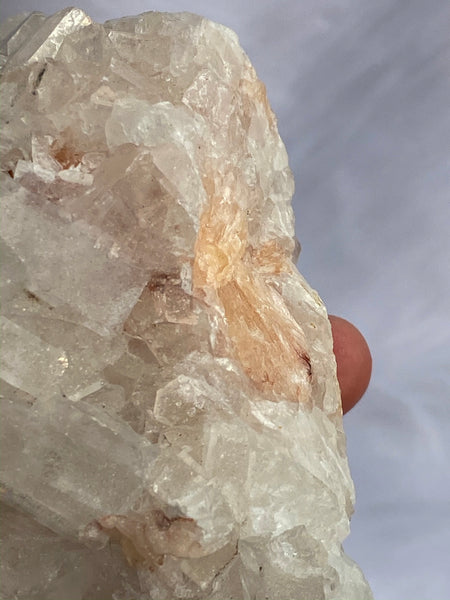 Stilbite and Apophyllite Cluster with Druzy Inclusions 495gm