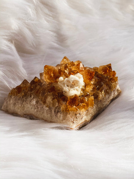 Citrine Cluster with Flower Calcite and Druzy 447gm