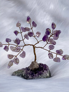 Crystal Bonsai Tree Purple Calcite Amethyst Base 118gm