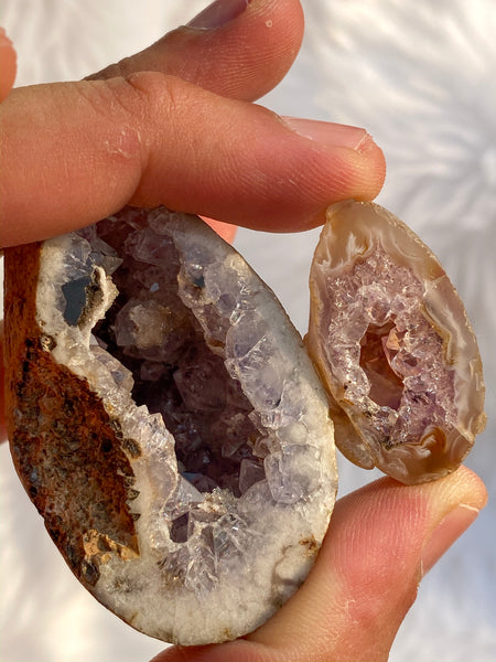 Agate Amethyst and Druzy Geode Mini Pack (2 pieces) 131gm