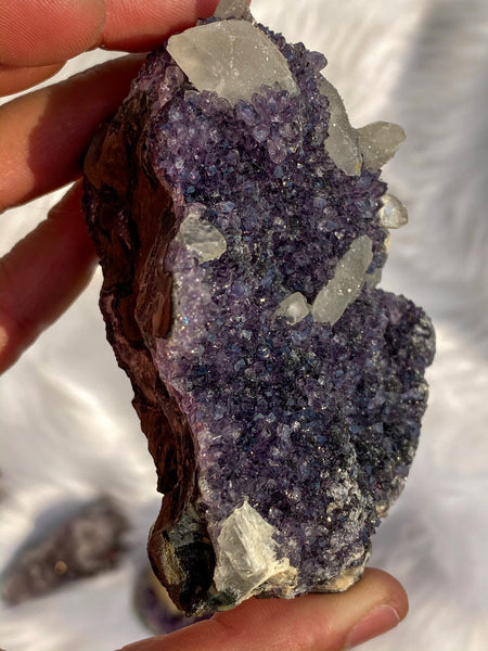 Amethyst Cluster with Calcite and Druzy 354gm