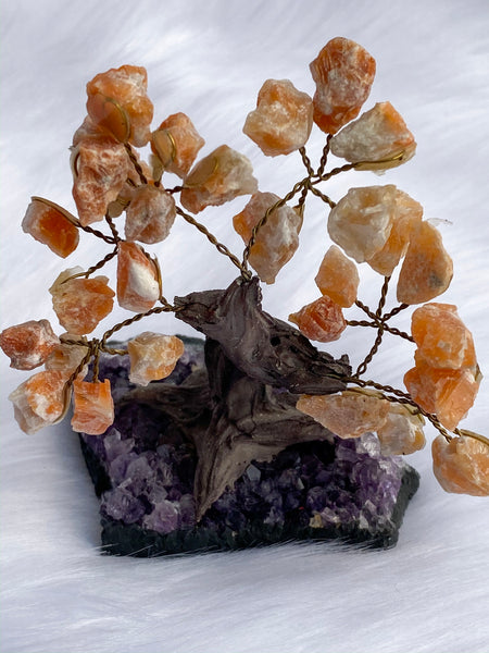 Crystal Bonsai Tree Orange Calcite on Amethyst Base 142gm