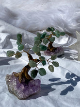 Load image into Gallery viewer, Crystal Bonsai Tree Green Aventurine on Amethyst Base