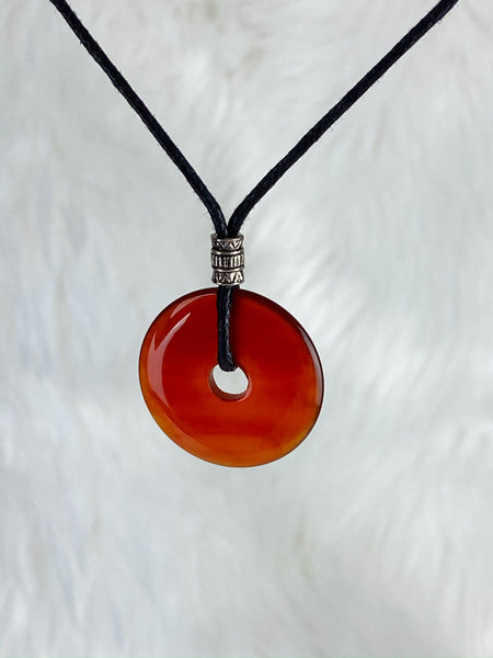 Pi Stone Pendants and Black Cotton Necklace Carnelian