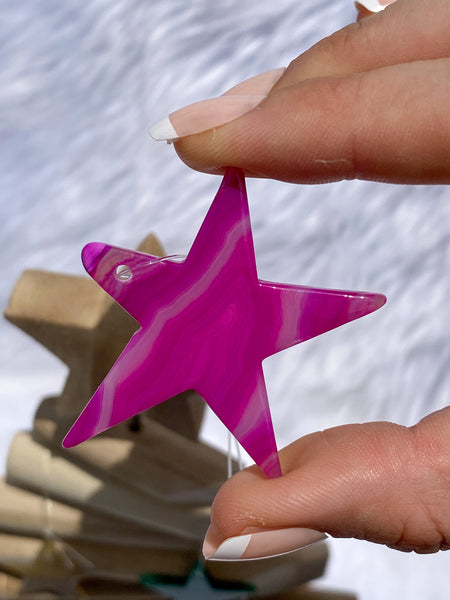 Agate Star Pink Christmas Tree Ornament