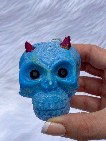 """Candles n Dreams"" Sea Salt Skull Candle Blue"
