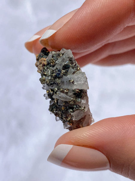 Clear Quartz and Pyrite Cluster 10g