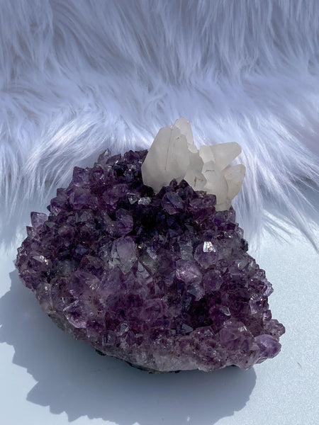 Amethyst Cluster with Calcite Points 864g