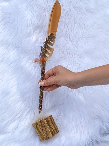 Manifestation Feather Pen with Wooden Stand