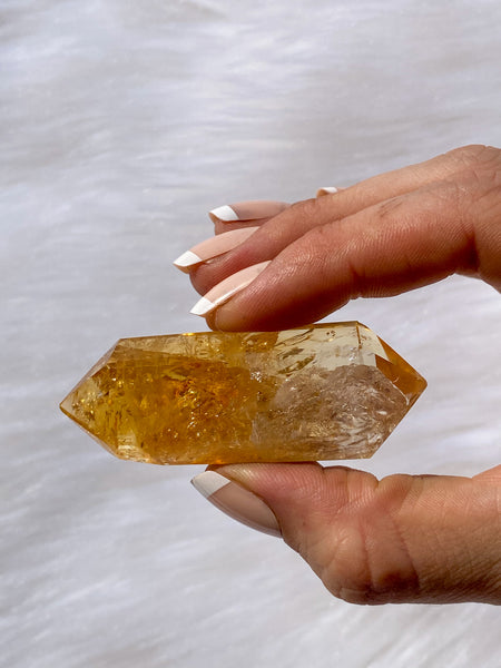 Citrine Double Terminator Polished Point Baked 39g