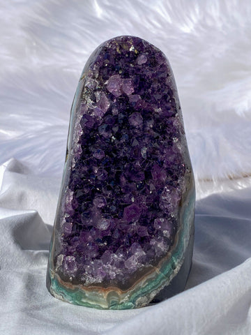 Amethyst Cluster CutBase with Agate 780g