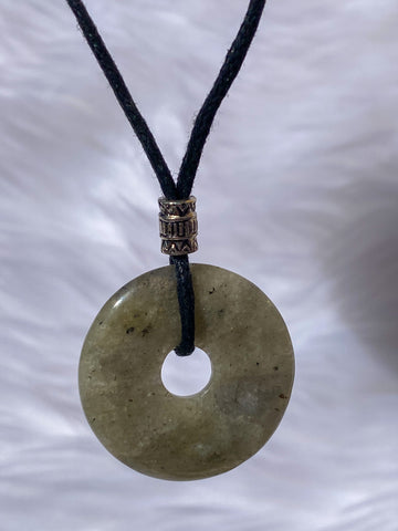 Pi Stone Pendants and Black Cotton Necklace Labradorite