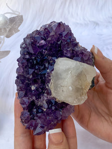 Amethyst Cluster with Calcite 420g