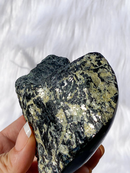 Tourmaline Half Polished Half Natural Heart with Mica 532g