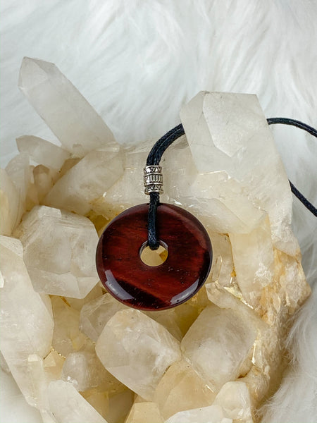 Pi Stone Pendants and Black Cotton Necklace Tiger Eye Red