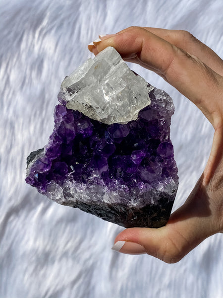 Amethyst and Calcite CutBase Cluster 536g