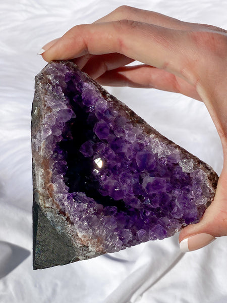 Amethyst Cluster CutBase Natural With Pink Amethyst 465g