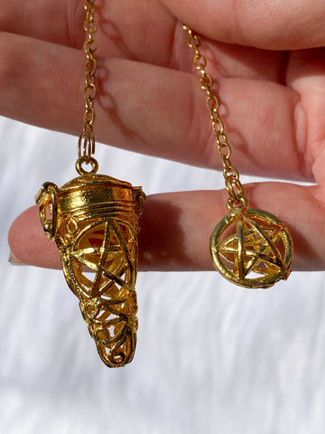 Pentagram Cage Gold Plated Pendulum