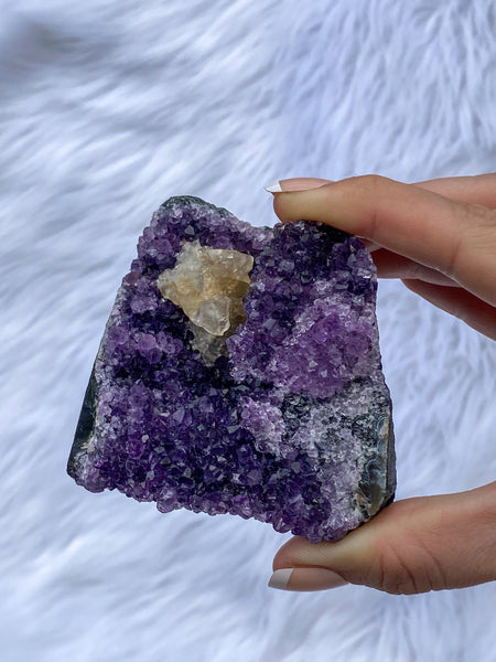 Amethyst CutBase with Calcite 346g