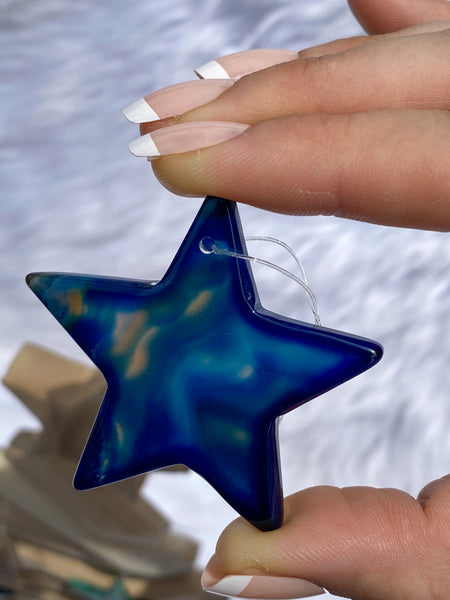 Agate Star Blue Christmas Tree Ornaments
