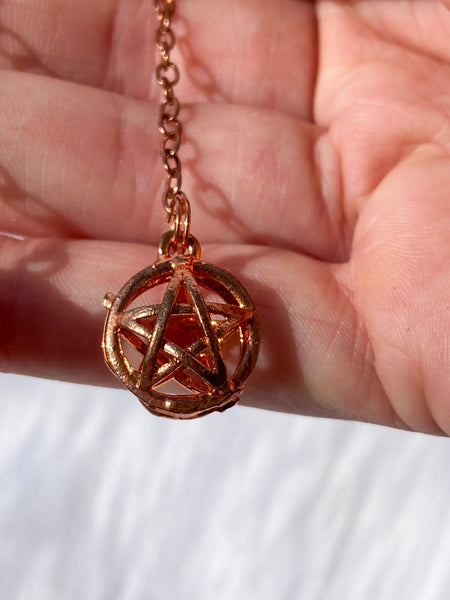 Pentagram Cage Copper Plated Pendulum
