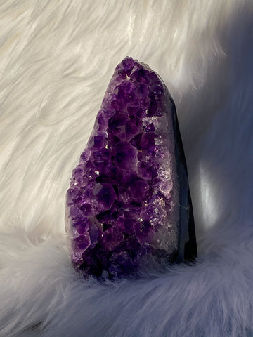Amethyst Cluster CutBase Geode with Agate 605g