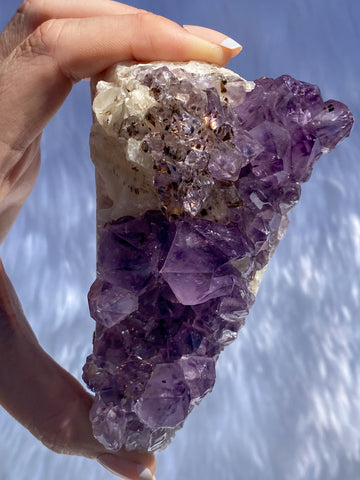 Amethyst Cluster with Calcite and Inclusions Cake Slice 404g