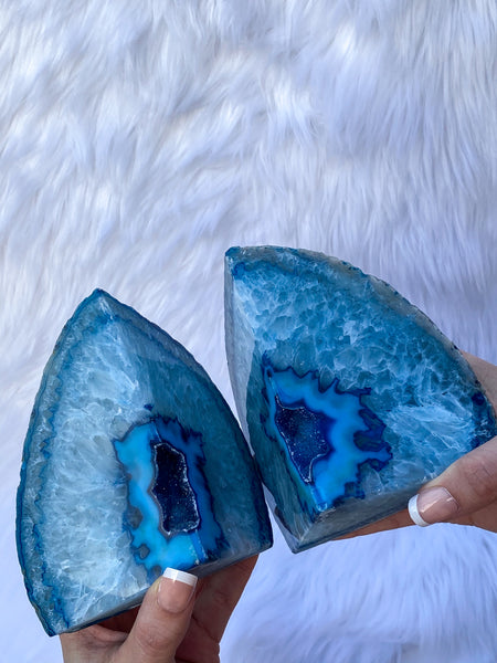 Agate Blue Geode Bookend 2265g