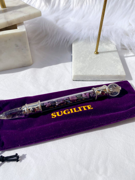 Sugilite with Quartz and Garnet Wand