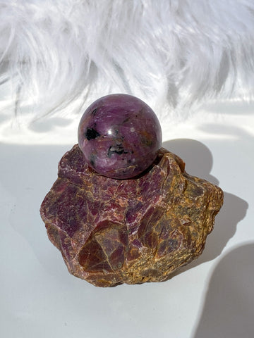 Ruby Sphere on Ruby Natural Stand 257g