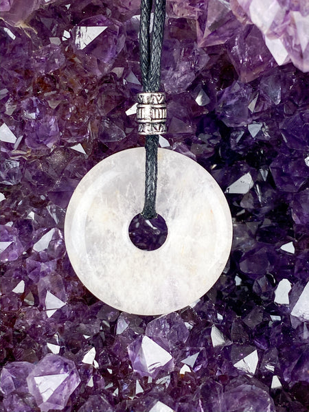 Pi Stone Pendants and Black Cotton Necklace Rose Quartz