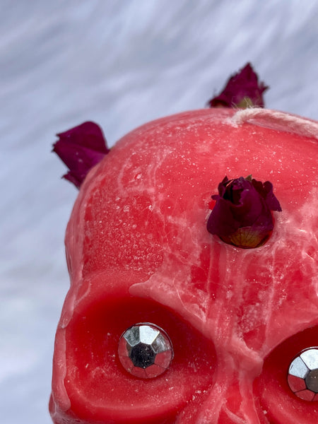 """Candles n Dreams"" Sugar Plum Skull Candle Pink"