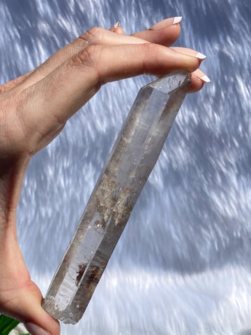 Smoky Laser Natural Point with Rutile Inclusions 97g