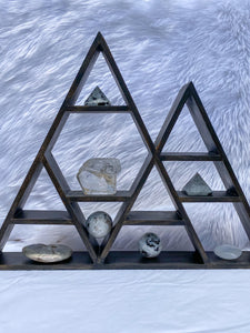 Wooden Double Pyramid Altar Crystal Display