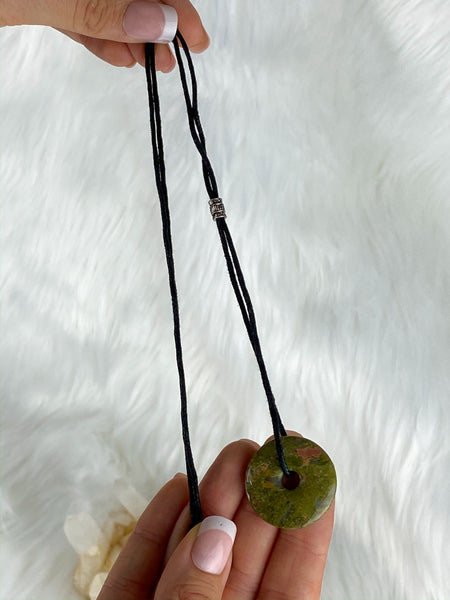 Pi Stone Pendants and Black Cotton Necklace Unakite