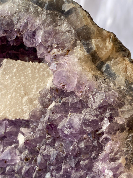 Amethyst CutBase with Calcite Druzy Inclusions 1356g