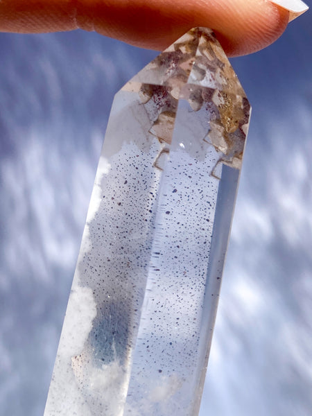 Clear Quartz Polished Point with Inclusions 50g