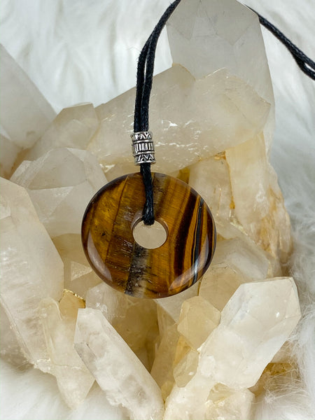Pi Stone Pendants and Black Cotton Necklace Tiger Eye Brown
