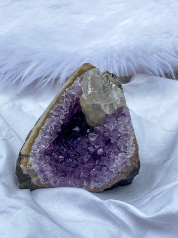 Amethyst CutBase with Pink Amethyst and Calcite 452g
