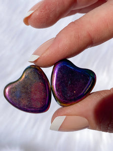 Magnetic Hematite Rainbow Hearts Pair 46g