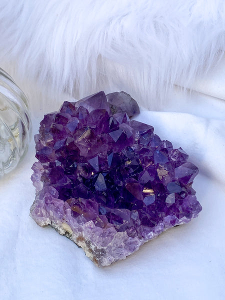 Amethyst Cluster with Druzy Inclusions 529g
